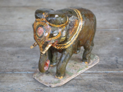 Hand Painted Antique Teak Wood Elephant, Jodphur, Rajasthan